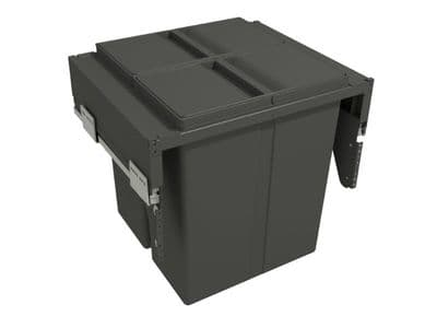 Pull-out waste bin with plastic lid, 2 x 40 litre bins, for 600mm cabinet, Orion Grey